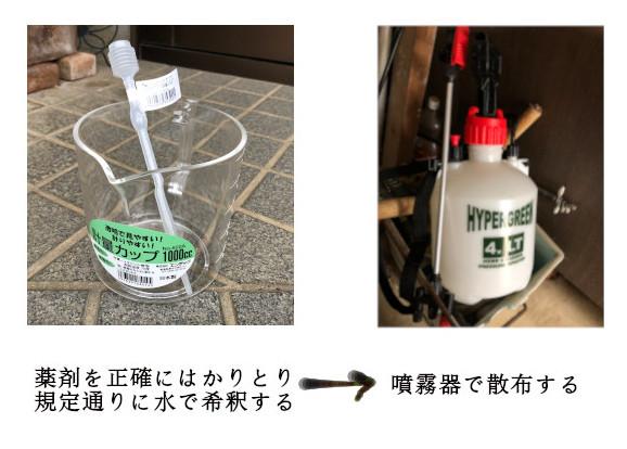 薬剤希釈の道具と噴霧器